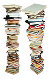 The Books built in high pile. poster