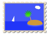 stamp with tropical travel concept - invitation to take a rest poster
