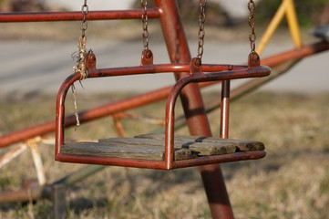Closeup of an a old swing