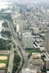 Vertical shot of Lake Shore Drive in Chicago