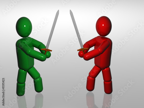 Fighting of two person with sword. 3d render