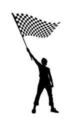 black and white checkered flag, vector illustration