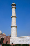 Upward point of view of the minarets on the corner of Taj Mahal poster