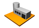 Scientific Facility 3d Collection Series in Orange poster
