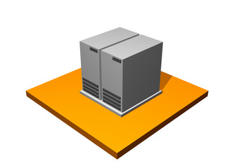Server Database Storage 3d Collection Series in Orange