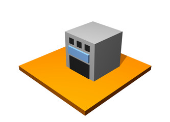 Factory Building 3d Collection Series in Orange