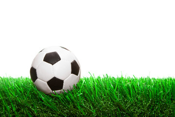 small soccer ball on the grass isolated on white background