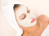 Fototapety Portrait of beautiful woman during spa treatment