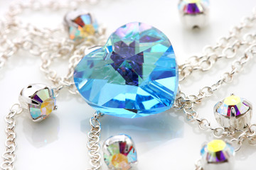Blue love shape swarovski with silver chain and jewelry.
