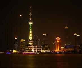Shanghai Pudong China Skyline Night TV Tower Moon