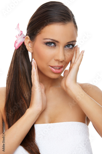 Portrait of beautiful woman before spa treatment