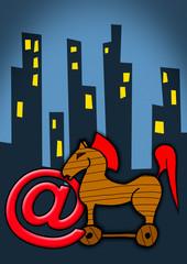 Troijan horse over cityscape