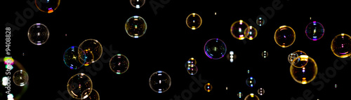 Color soap bubbles on black