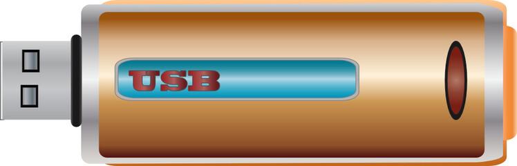USB Flash Memory Stick vector Illustration