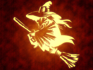 Witch on broomstick.