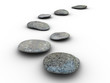 Isolated aligned stones on a white background. Made in 3d.