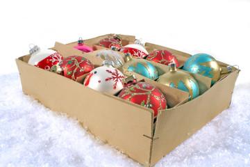 Old Box with Christmas ball.