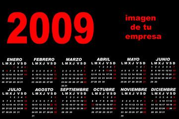 Calendario 2009 rojo y negro