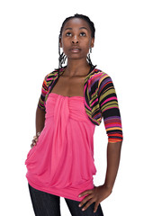young african girl with dreadlocks casual dressed