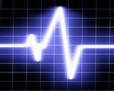 Heart beat on a clinic monitor on a dark background poster