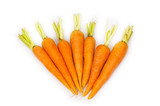 Many carrots isolated on the white background