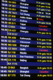 Flight schedule information board in an airport poster