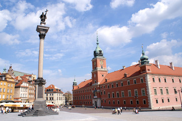 Column and Royal Castle in Warsaw, Poland
