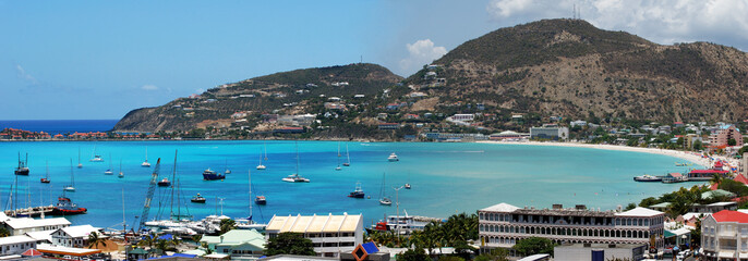 Philipsburg town bay on St.Maarten island, Netherland Antilles.