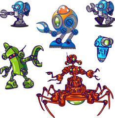 robots in blue, green and red colors