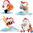 santa playing with the snow, doing ski and winter sports