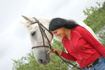 beautiful girl and horse.outdoor