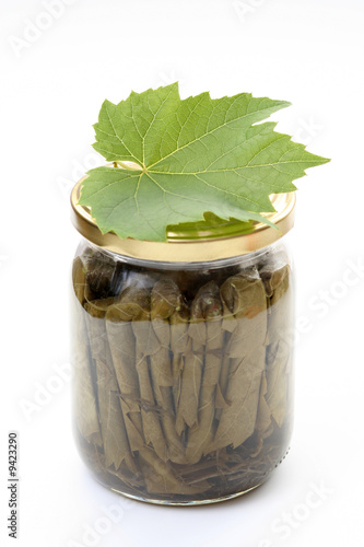 stuffed vine leaves isolated on white