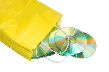 yellow paper bag with CD isolated over white