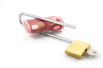 padlock with money isolated on a white background