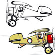 Vector cartoon biplane