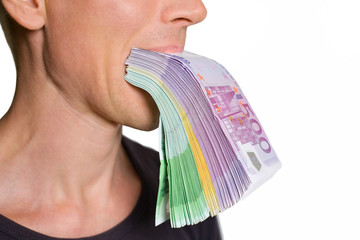person with euro currency in a mouth isolated on white