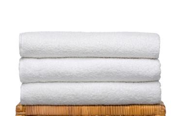 Fresh white Towels on Bamboo