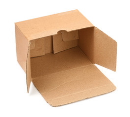 open cardboard box against white background,