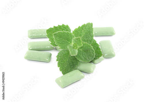 mint with bubblegums isolated on white