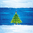 green christmas tree over blue background