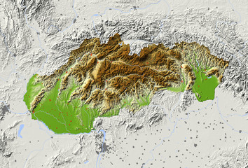 Slovakia. Shaded relief map.