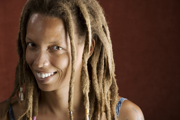 Pretty African American Woman with Hair in Dreadlocks