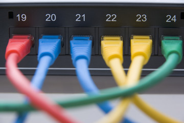 Computer Cables Connected To A Router