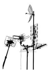 silhouette vector trace of television rooftop antennas
