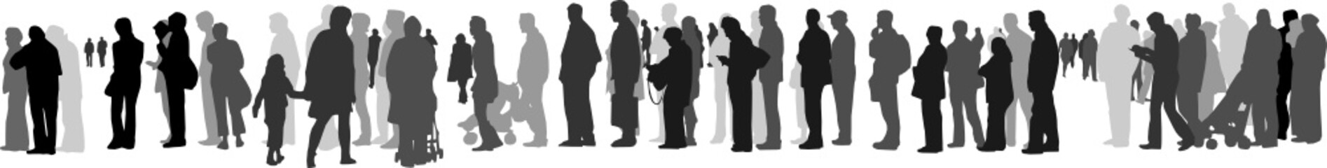 people waiting in queue silhouette vector