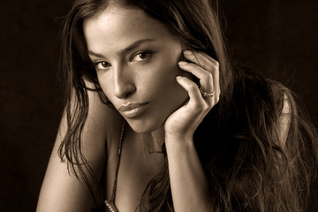 beautiful woman portrait in sepia tones