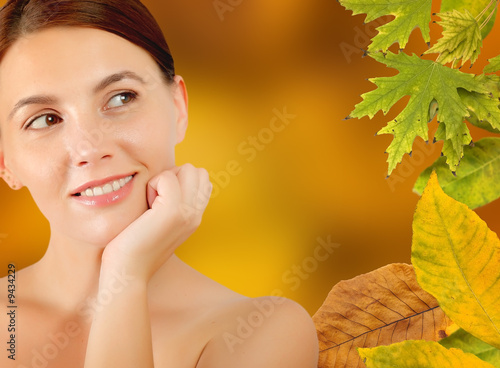 close -up of woman in autumn frame