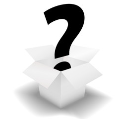 Mystery Box - question mark in a clean white carton