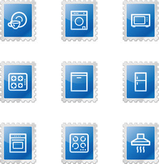 Home appliances web icons, blue glossy stamp series