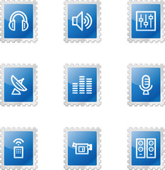Media web icons, blue glossy stamp series